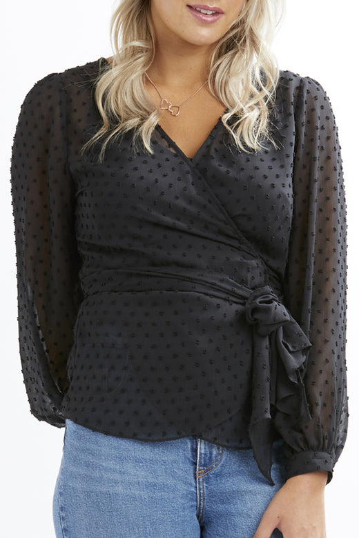 In Rapture LS Black Floral Dobby Spot Wrap Blouse