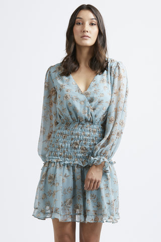 Sicillian LS Dusty Blue Floral Shirred Frill Hem Dress