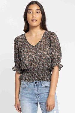 Serene Black Bud Shirred Hem SS Top