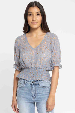Serene Pale Blue Floral Shirred Hem SS Top