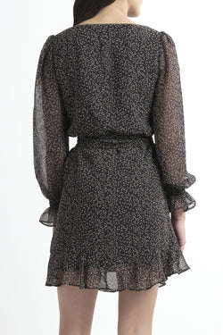 Rumour Has It LS Black Ditsy Wrap Dress