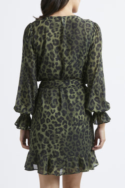 Rumour Has It LS Khaki Animal Wrap Dress