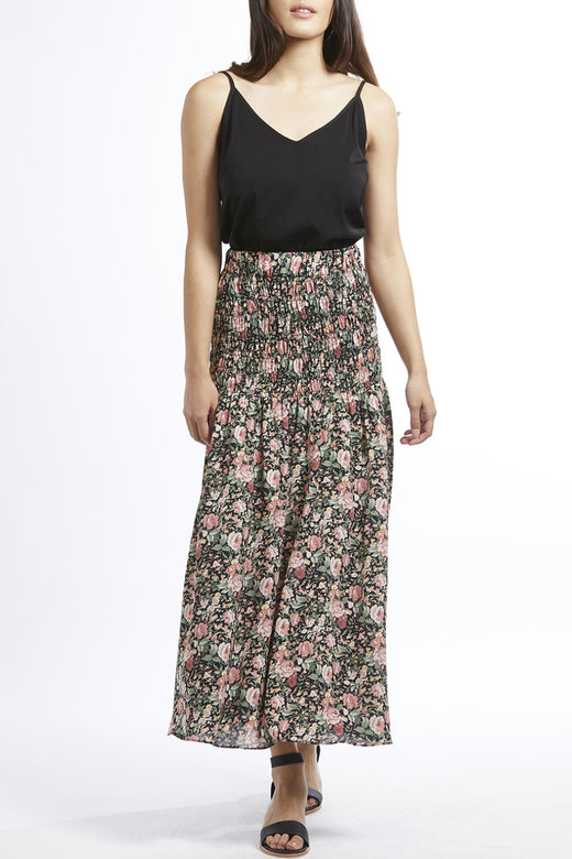 Passionate Black Floral Shirred Waist Maxi Skirt