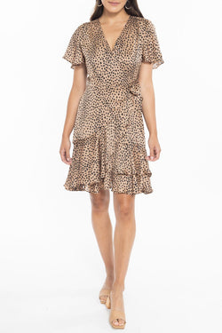 Loving Caramel Mini Leopard SS Wrap Mini Dress