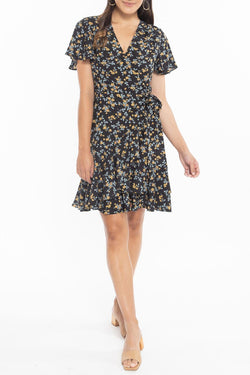 Loving Black Magnolia Flower SS Wrap Mini Dress