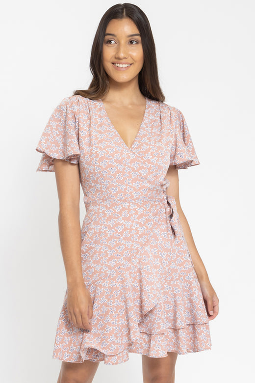 Loving Dusty Pink Daisy SS Wrap Dress