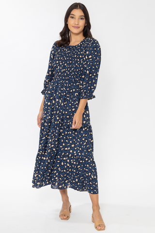 Awaken Navy Safari LS Tiered Maxi Dress