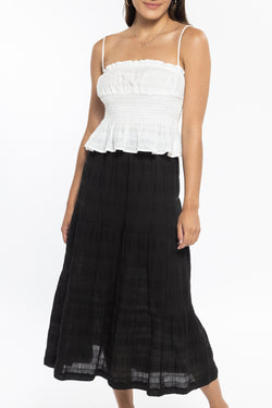 Lulu Black Tiered Midi Skirt