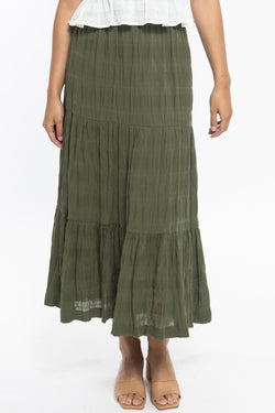 Lulu Forest Tiered Midi Skirt