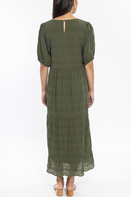 Rosabella Forest Puff Sleeve Tiered Midi Dress