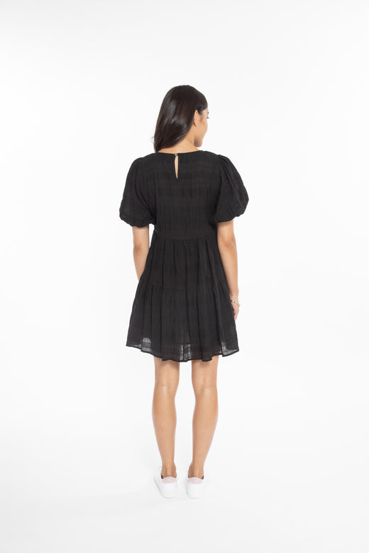 Rosabella Black SS Tiered Mini Dress