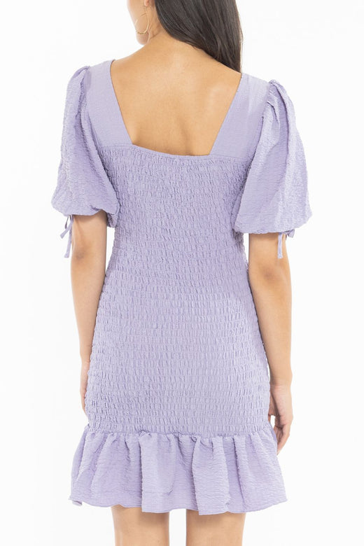 Harper Lilac Square Neck Shirred SS Mini Dress