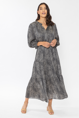 Magical Black Mini Cheetah LS Tiered Maxi Dress