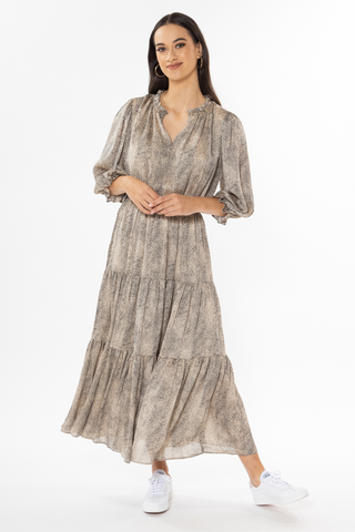 Magical Champagne Mini Cheetah LS Tiered Maxi Dress