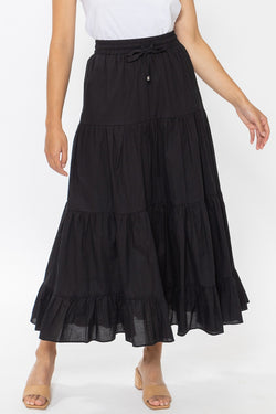 Happy Black Cotton Tiered Tie Waist Maxi Skirt