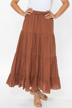 Happy Rust Cotton Tiered Tie Waist Maxi Skirt