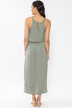 Hullabaloo Sage Washer Satin Sleeveless High Low Midi Dress