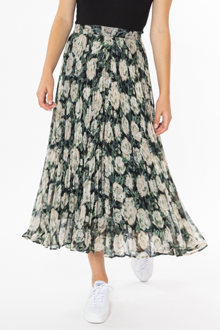 Enticing Forest Floral Pleated Midi Skirt