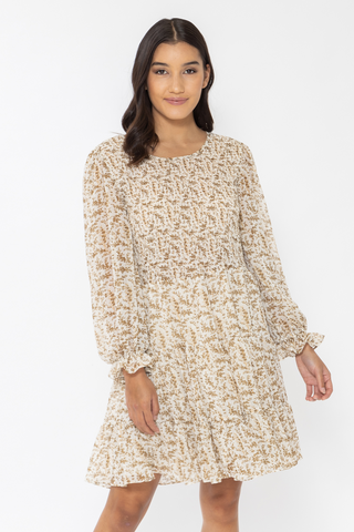 Funfilled Ivory Gold Floral LS Shirred Mini Dress