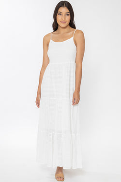 Faith White Cotton Tiered Strappy Maxi Dress
