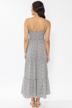 Faith Snow Leopard Tiered Strappy Maxi Dress