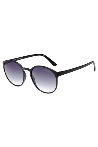 Swizzle Thin Round Matte Black Smoke Gradient Lens Sunglasses