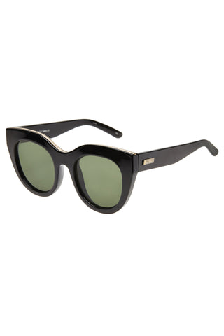 Air Heart Cat Eye Black Gold Khaki Lens Sunglasses