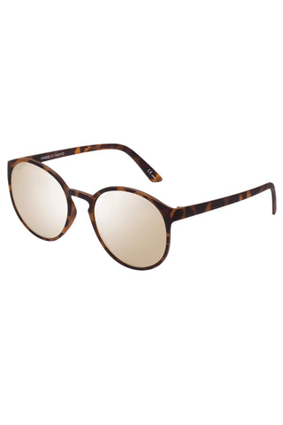 Swizzle Thin Round Matte Tort Gold Mirror Sunglasses