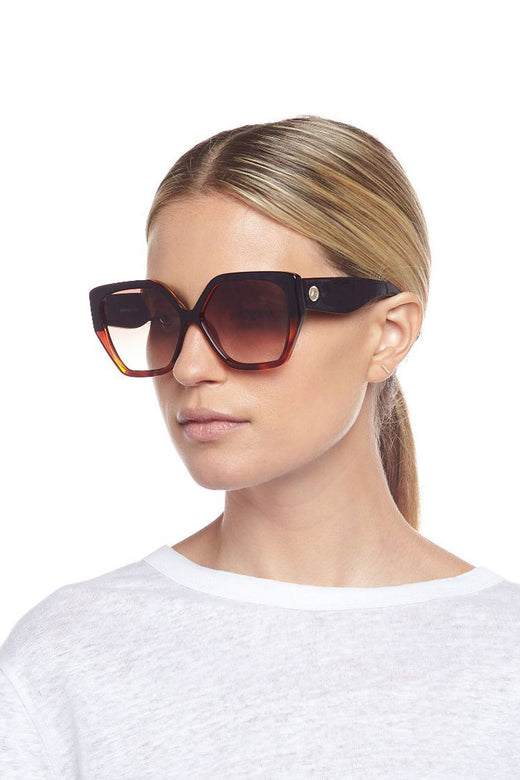 So Fetch Oversized Square Black Tort Brown Gradient Lens Sunglasses