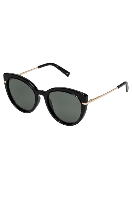 Promiscuous Black Khaki Lens Polarised Sunglasses with Gold Arms