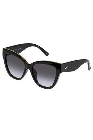 Le Vacanze Oversized Cat Eye Black Gold Smoke Gradient Lens Sunglasses