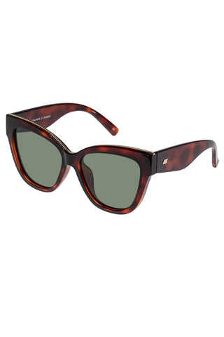 Le Vacanze Oversized Cat Eye Tort Gold Khaki Polarised Lens Sunglasses