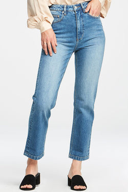 High Straight Relaxed Mom Mid blue Fervour Denim Jeans