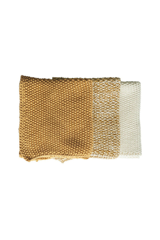 Textured Lavette Ochre Wash Cloths Set of 3