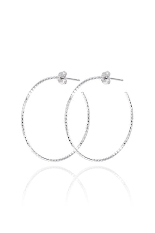 Large Halo Hoop Diamond Cut Earrings Silver