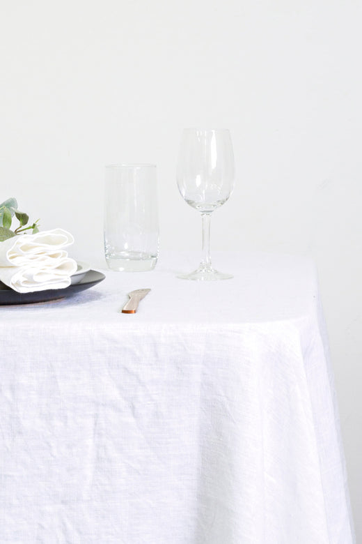 Linen White Tablecloth 150x260cm