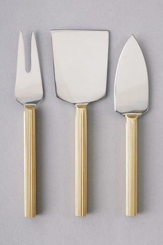 Lino Cheese Knife Set 3 Gold Handle