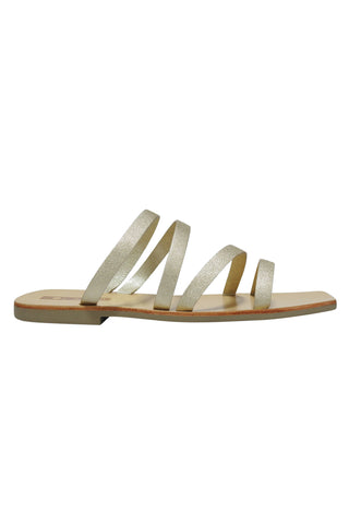 Lorella Matt Gold Multi Strap Flat Slide
