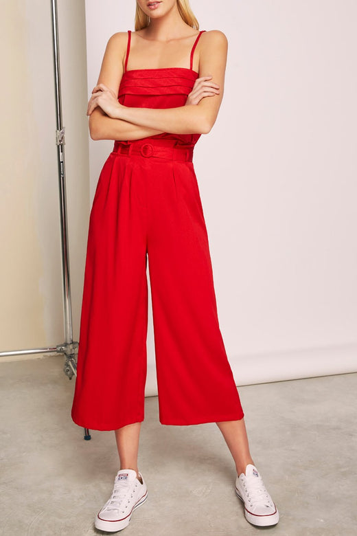 Lotti Wide Leg Belted Red Pant