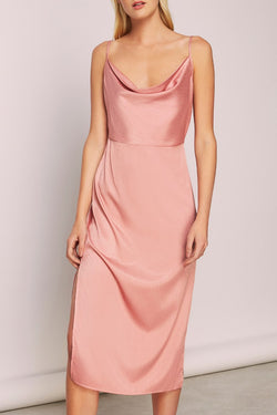 Lotti Slip Cowl Neck Salmon Midi Dress