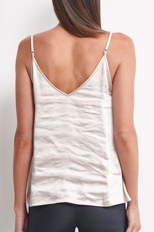 Lua Strappy V Neck Satin Grey Cami