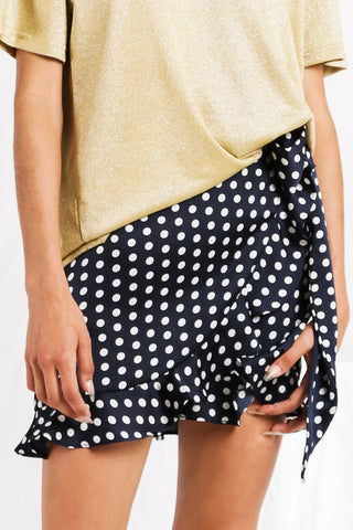 Anya Spot Wrap Skirt Navy