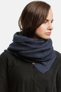 Merino Garter Stitch Knit Midnight Blue Scarf