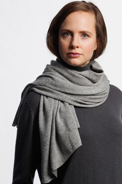 Merino Fine Knitted Flint Grey Scarf
