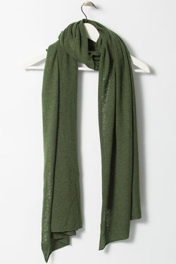 Merino Fine Knitted Forest Green Scarf
