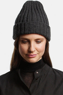 Merino Thick Rib Charcoal Hat