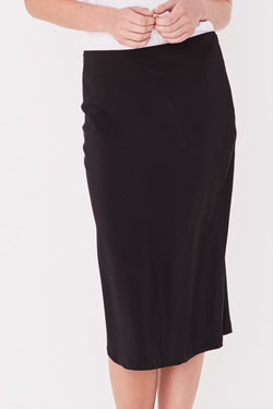Malene Black Silk Midi Skirt