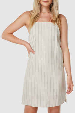 Marley Natural Stripe Linen Midi Dress