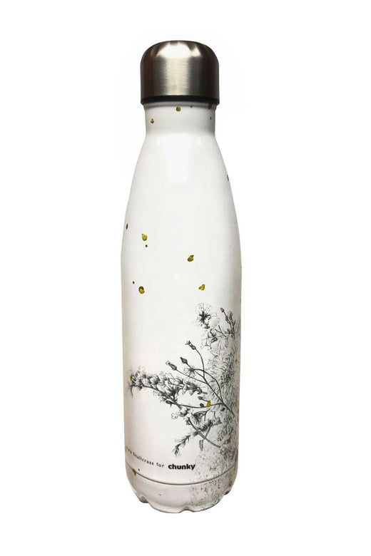 Wildflower White Metal Drink Bottle 500ml