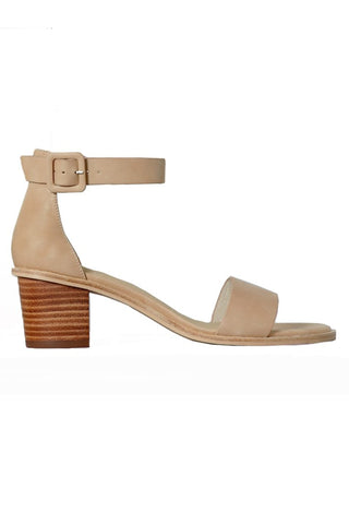 Mickee Nude Leather Ankle Strap Heel